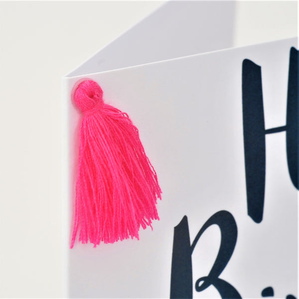 Birthday Card, Bouquet, Happy Birthday, Embellished with a colourful tassel