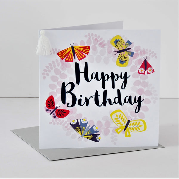 Birthday Card, Butterfly Wreath, Embellished with a colourful tassel