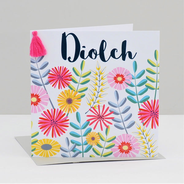 Welsh Thank You Card, Flowers, Thank You, Embellished with a colourful tassel