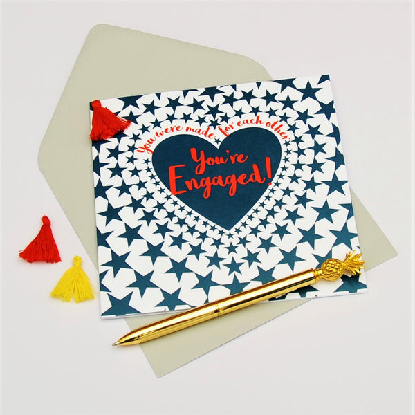 Engagement Card, Heart in Stars, Wedding, Embellished with a colourful tassel