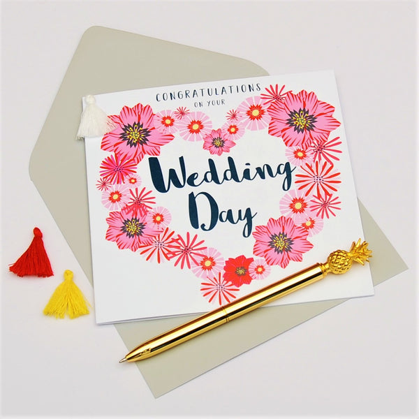 Wedding Congratulations Card, Flowers Heart, Embellished with a colourful tassel