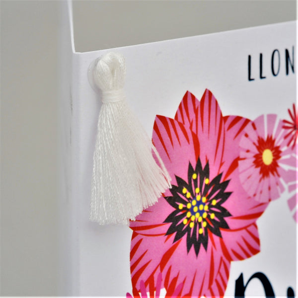 Welsh Wedding Congratulations Card, Heart of Flowers, Tassel Embellished