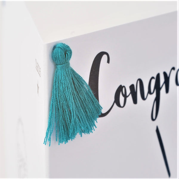 Congratulations Card, #Winner, Embellished with a colourful tassel