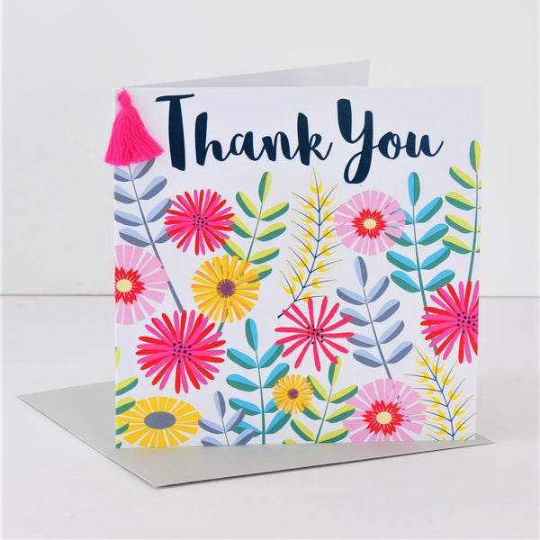 Thank You Card, Flowers, Thank You, Embellished with a colourful tassel