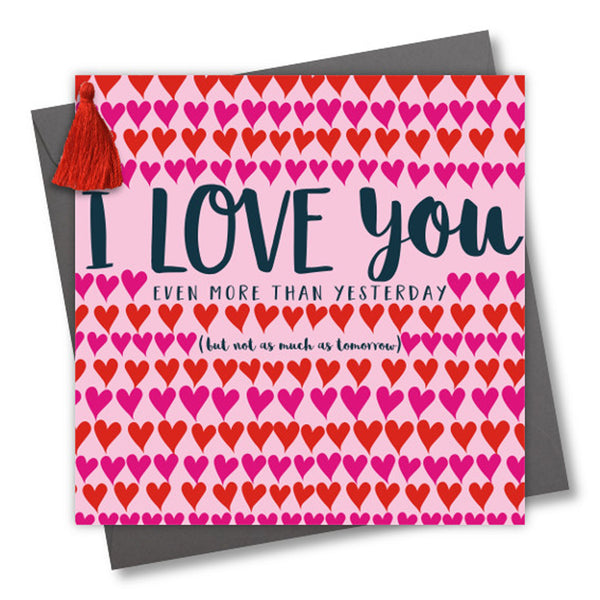 Valentine's Day Card, Rows of Hearts, Embellished with a colourful tassel