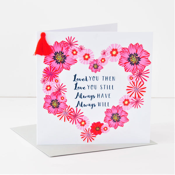 Valentine's Day Card, Heart Wreath & Poem, Embellished with a colourful tassel