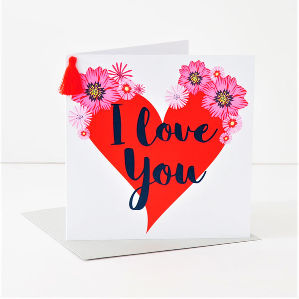 Valentine's Day Card, Big Heart, I Love You, Embellished with a colourful tassel