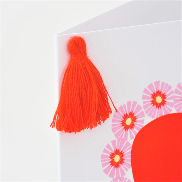 Valentine's Day Card, Heart with Flowers, Embellished with a colourful tassel