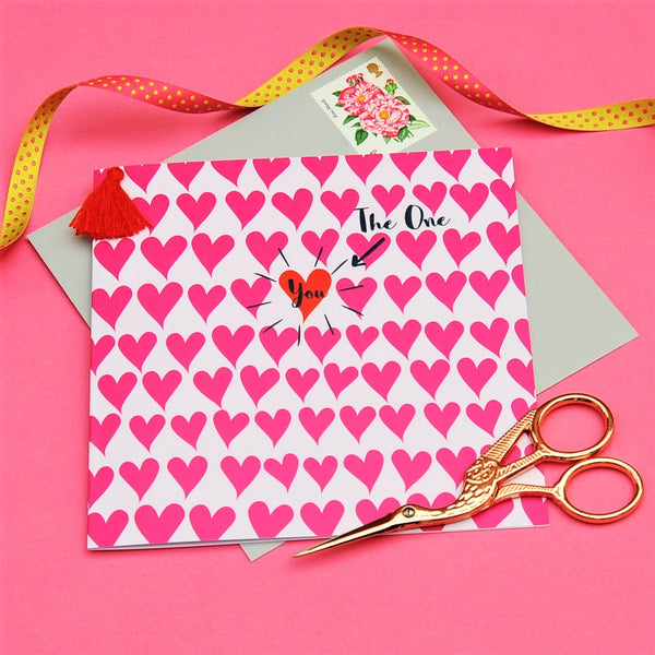 Valentine's Day Card, Hearts Background, Embellished with a colourful tassel