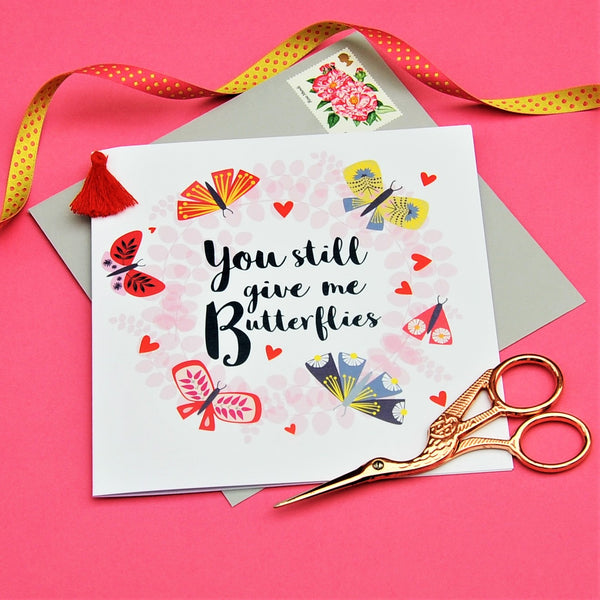 Valentine's Day Card, Butterfly Wreath, Embellished with a colourful tassel