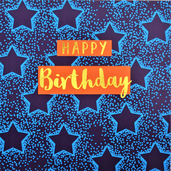 Birthday Card, Blue Stars, Happy Birthday, text foiled in shiny gold