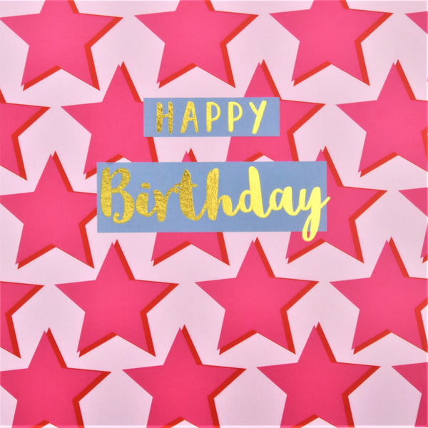 Birthday Card, Pink Stars, Happy Birthday, text foiled in shiny gold