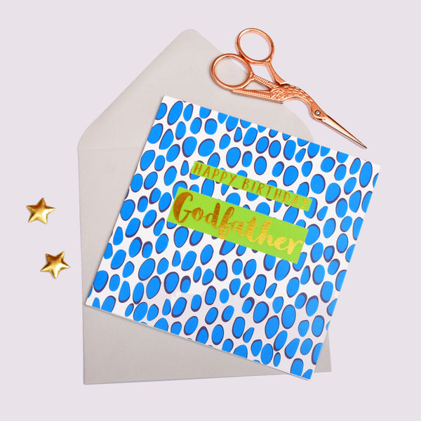 Birthday Card, Godfather Blue Dots, text foiled in shiny gold
