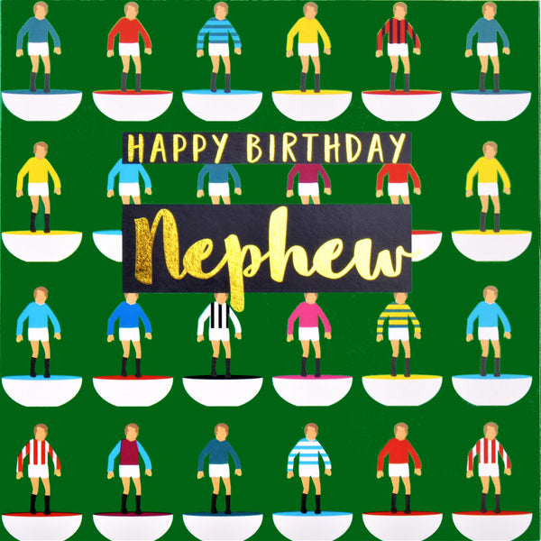 Birthday Card, Nephew Footballers, text foiled in shiny gold