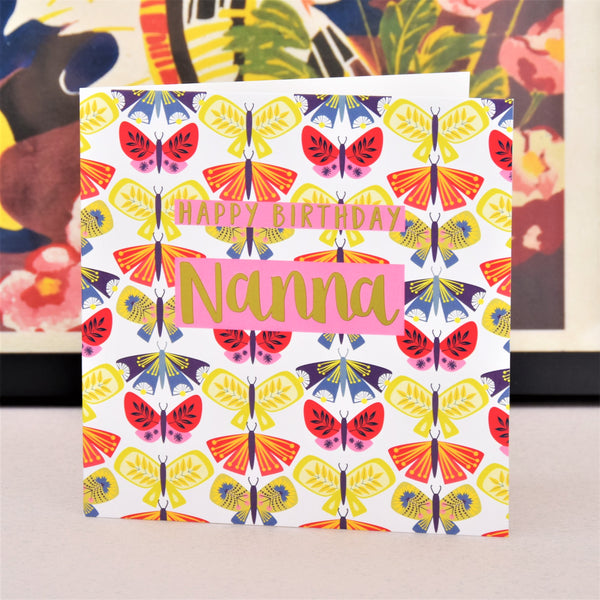 Birthday Card, Nanna Butterflies, text foiled in shiny gold