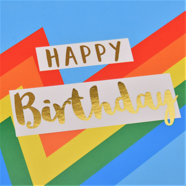 Birthday Card, Colour Bolt, Happy Birthday, text foiled in shiny gold