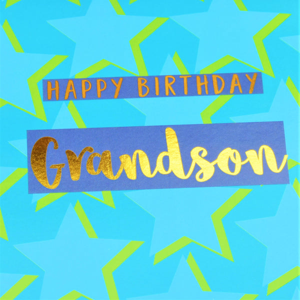 Birthday Card, Grandson Blue Stars, text foiled in shiny gold