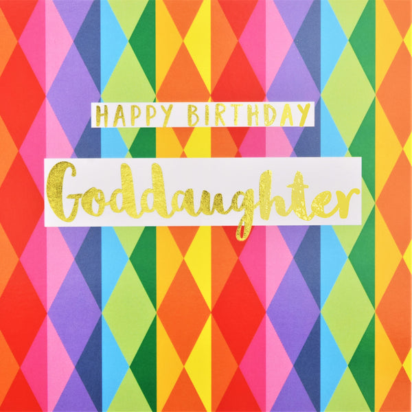Birthday Card, Goddaughter Colourful Diamonds, text foiled in shiny gold