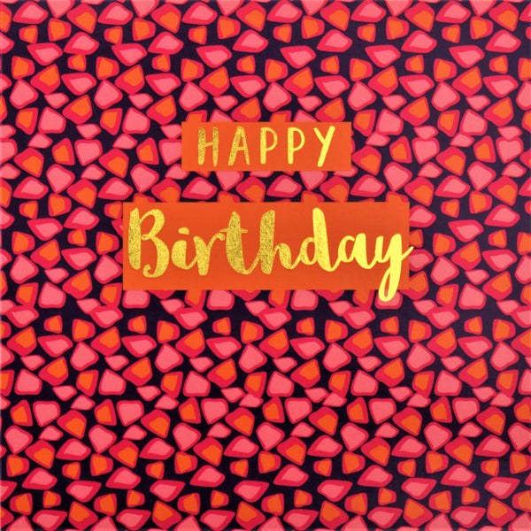 Birthday Card, Pink Shapes, Happy Birthday, text foiled in shiny gold