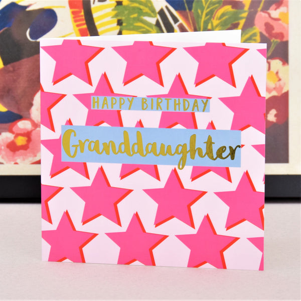 Birthday Card, Granddaughter Pink Stars, text foiled in shiny gold