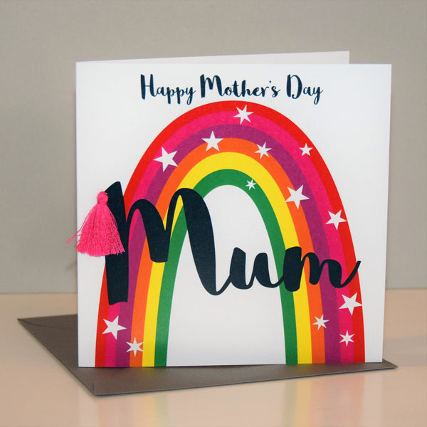 Mother's Day Card, Rainbow, Mum, Embellished with a colourful tassel