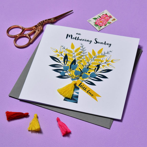 Mother's Day Card, Flowers Bouquet, Embellished with a colourful tassel