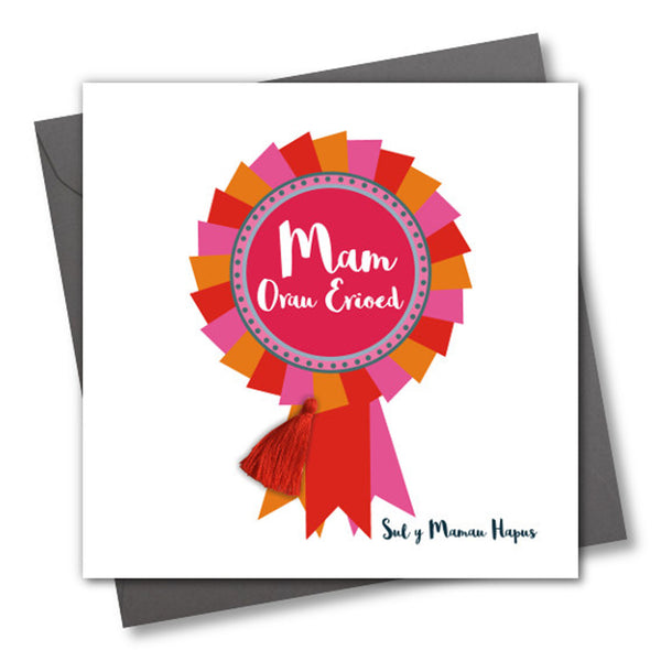 Welsh Mother's Day Card, Sul y Mamau Hapus, Mam, Rosette, Tassel Embellished