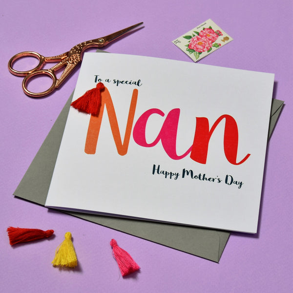 Mother's Day Card, To a special Nan, Embellished with a colourful tassel