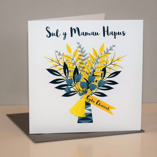 Welsh Mother's Day Card, Sul y Mamau Hapus, Flowers Bouquet, Tassel Embellished