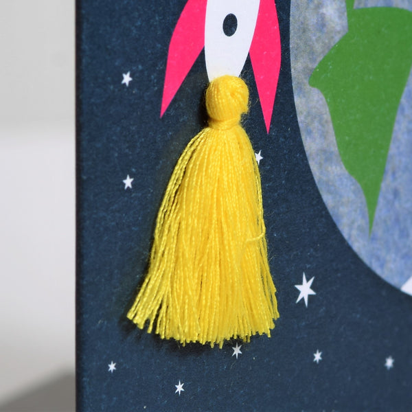 Welsh Mother's Day Card, Sul y Mamau Hapus, Best Mum, Tassel Embellished