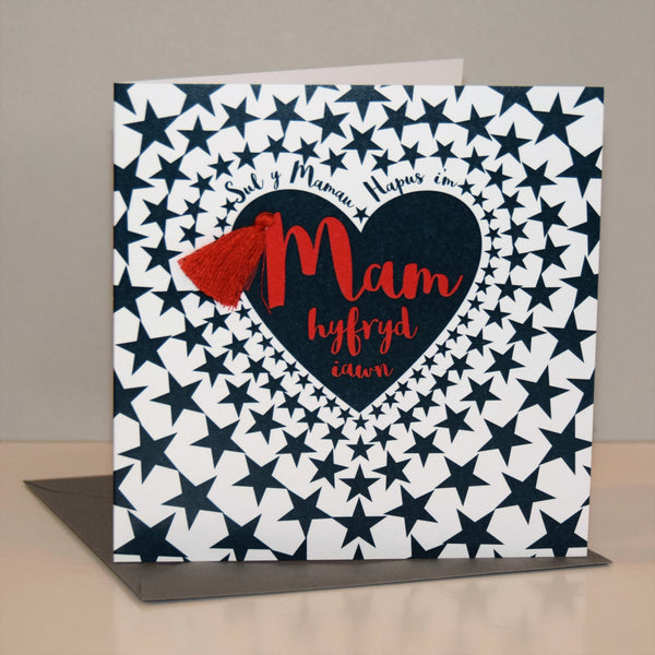 Welsh Mother's Day Card, Sul y Mamau Hapus, Mam, Star Heart, Tassel Embellished