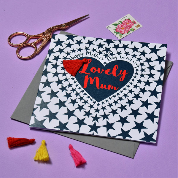 Mother's Day Card, Heart of Stars, Lovely Mum, Embellished with a tassel