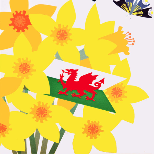 Welsh St Davids Day Card, dydd gwyl dewi hapus, Welsh Flag, Tassel Embellished
