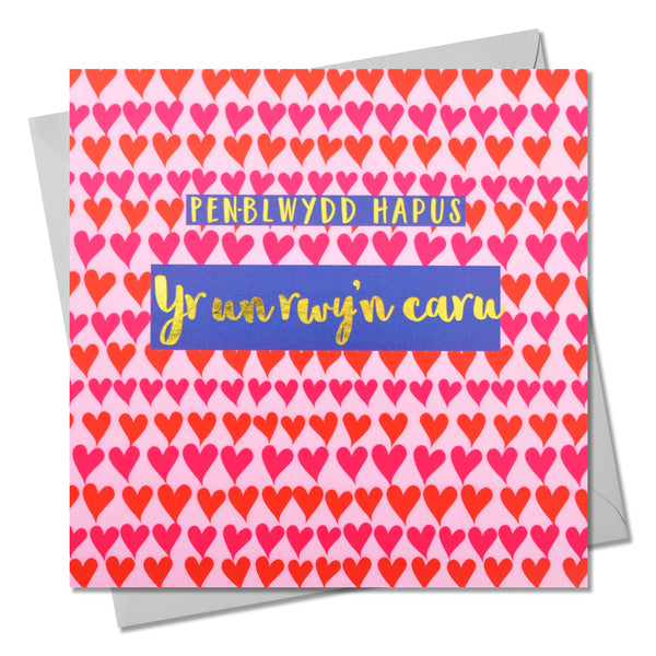 Welsh Birthday Card, Penblwydd Hapus, One I Love, text foiled in shiny gold