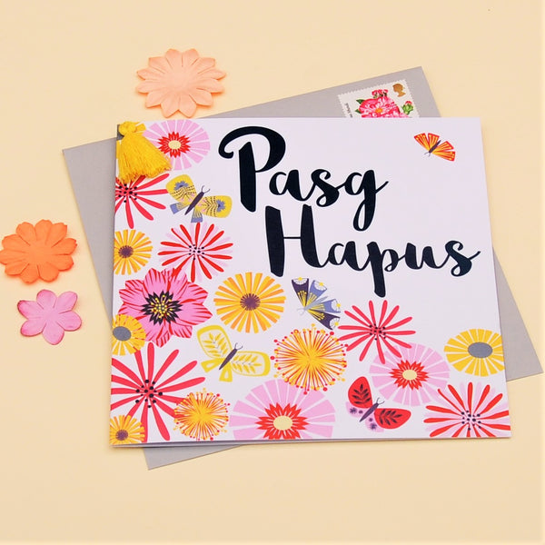 Welsh Easter Card, Pasg Hapus, Tumbling Flowers, Tassel Embellished