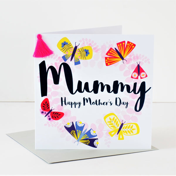 Mother's Day Card, Butterfly Wreath, Mummy, Embellished with a colourful tassel