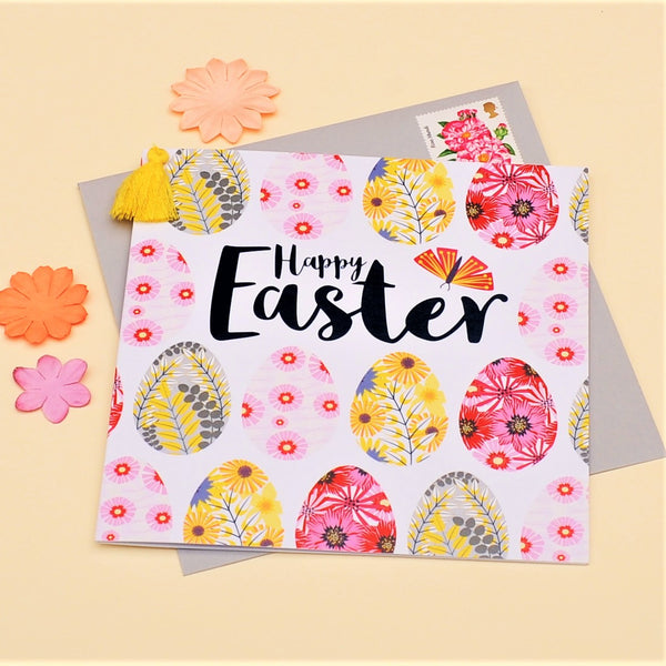 Easter Card, Rows of Eggs, Happy Easter, Embellished with a colourful tassel
