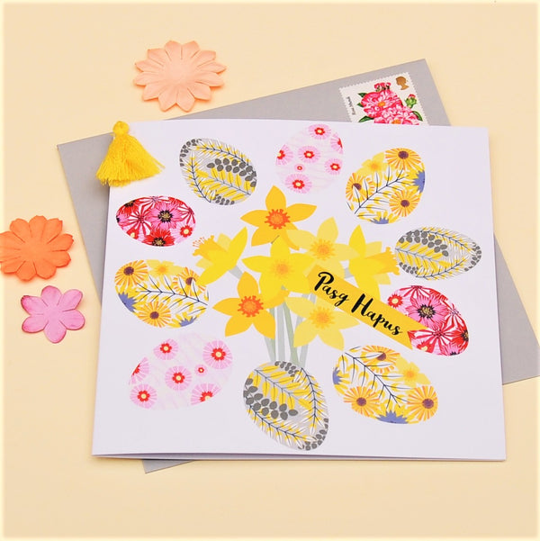Welsh Easter Card, Pasg Hapus, Daffodils, Embellished with a colourful tassel