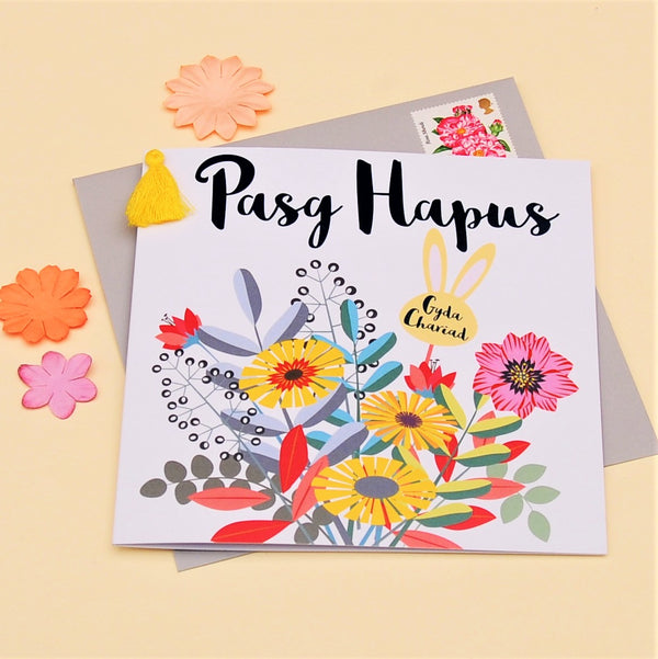 Welsh Easter Card, Pasg Hapus, Bouquet, Embellished with a colourful tassel