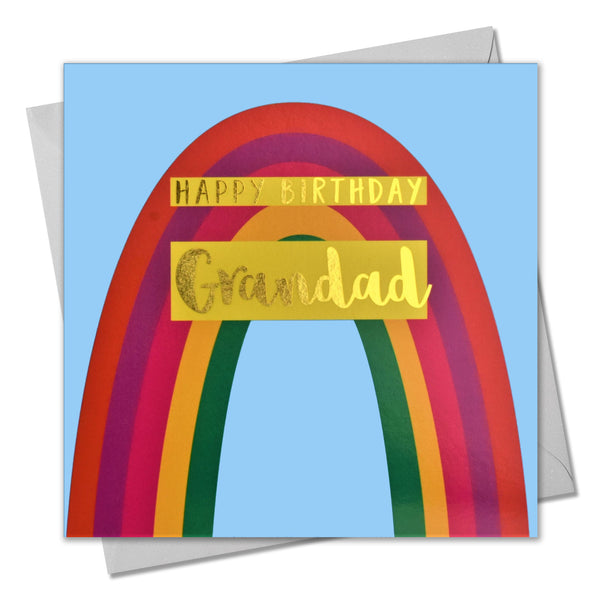Birthday Card, Grandad, Rainbow, text foiled in shiny gold