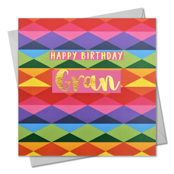 Birthday Card, Gran, Colourful Diamonds, text foiled in shiny gold