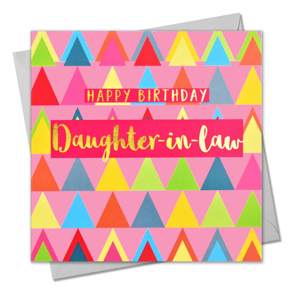 Birthday Card, Daughter-in-law Pink Triangles, text foiled in shiny gold
