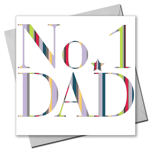 Father's Day Card, Colourful Text, No. 1 Dad