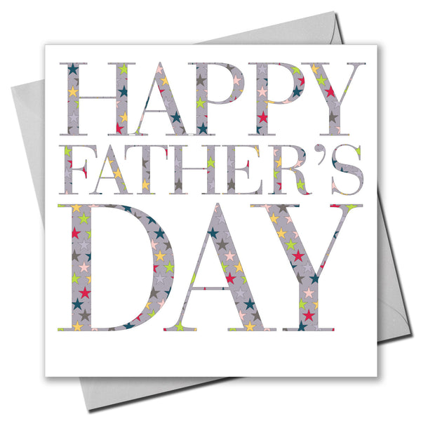 Father's Day Card, Star Text, Happy Father's Day