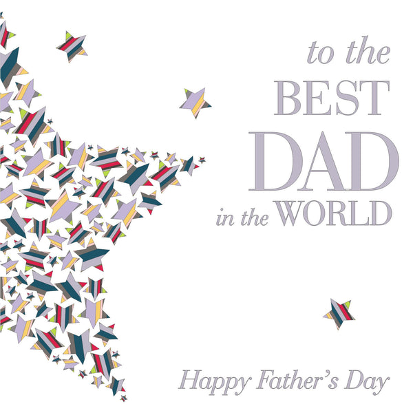Father's Day Card, Colourful Stars, Best Dad in the World, Happy Father's Day