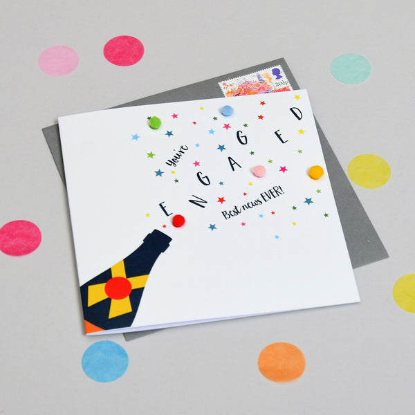 Wedding Card, Pop! You're Engaged Best News, Embellished with colourful pompoms