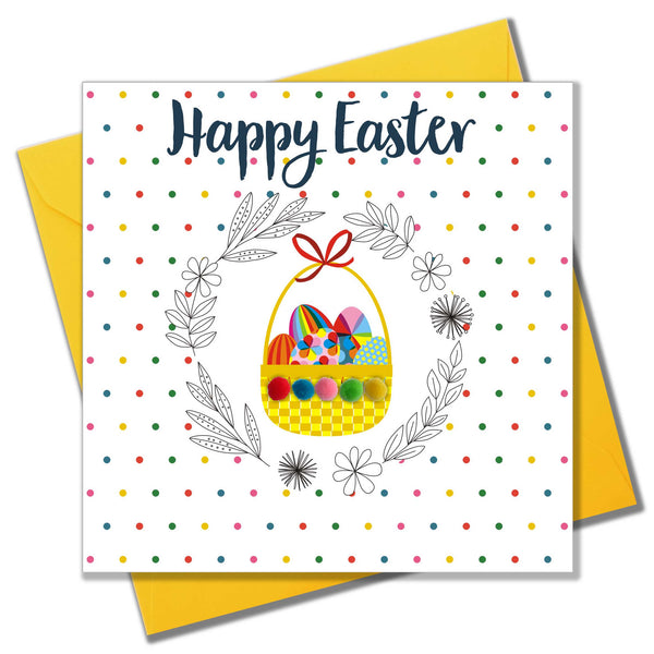 Easter Card, Basket of Eggs, Embellished with colourful pompoms
