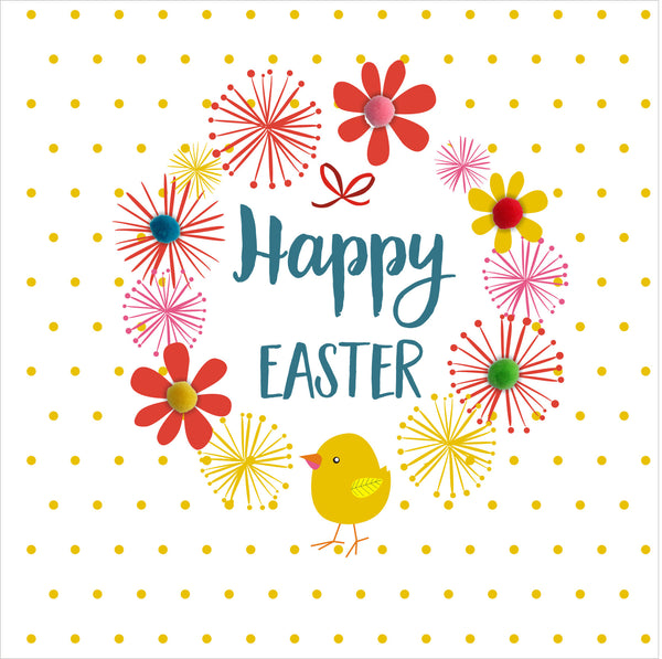 Easter Card, Dots & Flowers, Happy Easter, Embellished with colourful pompoms