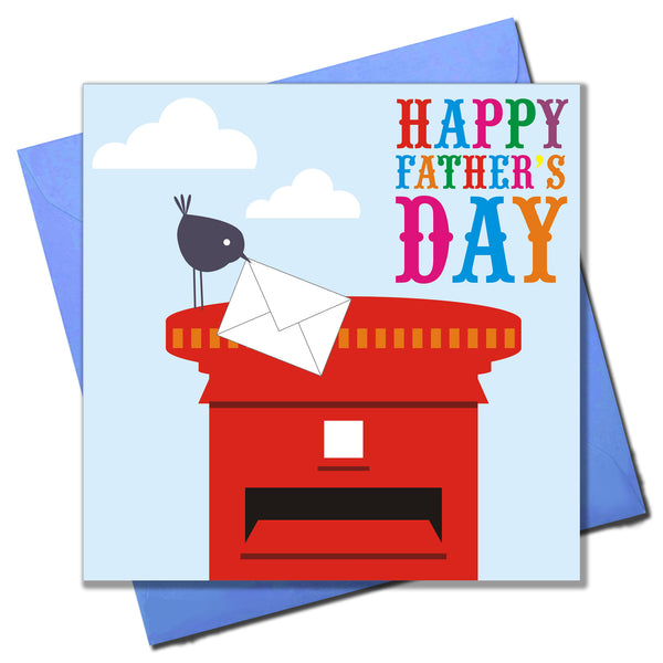Father's Day Card, Bird and Post Box, Happy Father's Day