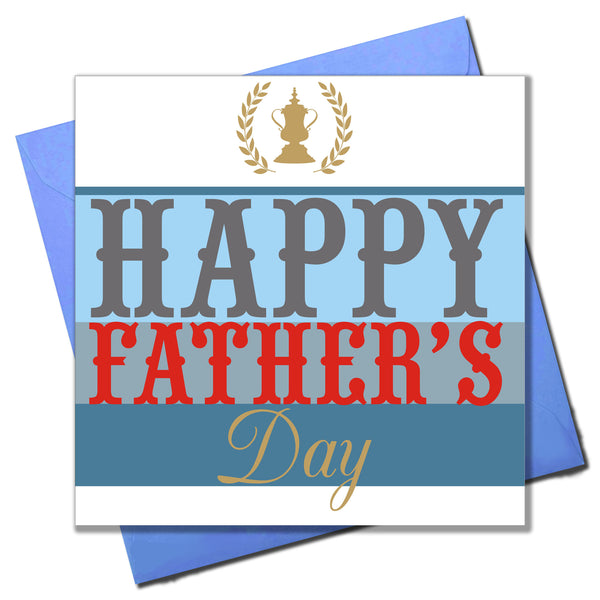 Father's Day Card, Trophy and Golden Laurels, Happy Father's Day